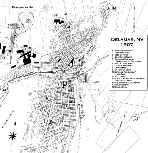 Map of Delamar, Nevada 1907